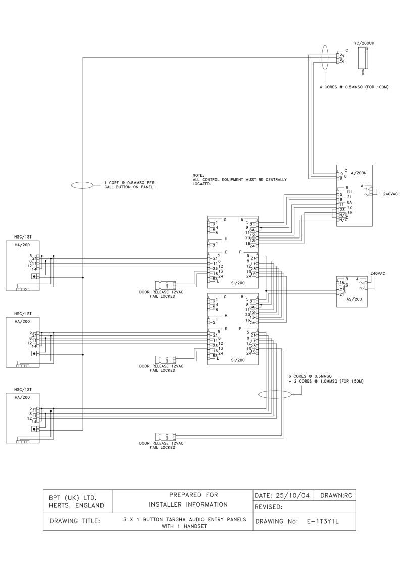 Bpt Wiring Diagrams System 200 Handset Diagram 3 X 1 Button Targha Audio Entry Panels