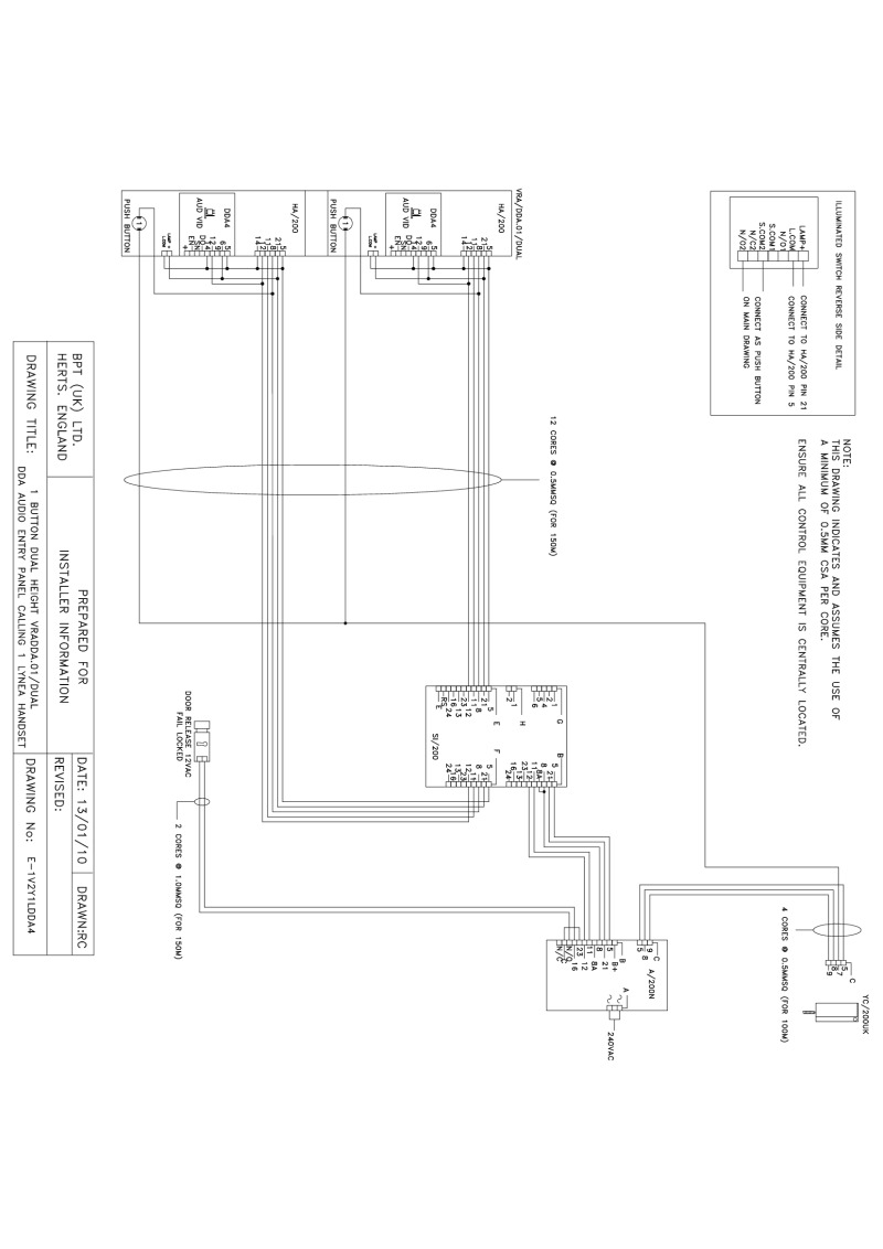 Bpt Wiring Diagrams System 200 Uk Mains Diagram 1 X Button Dual Height Vr Dda4 Audio Entry Panel Handset