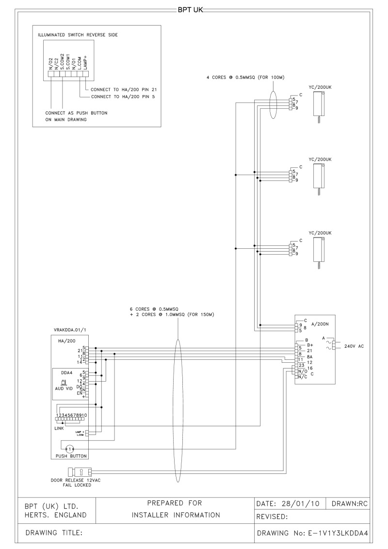 Bpt Wiring Diagrams System 200 Single Doorbell Diagram 1 X Button Height Vr Dda4 Audio Entry Panel With Keypad 3 L