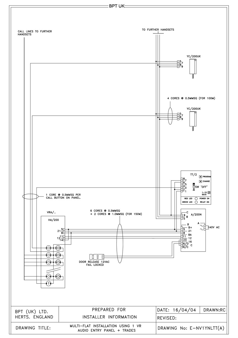 Bpt Wiring Diagrams System 200 Audio Panel 1 X Multi Button Vr Entry With Trades Timer And Lynea Hand