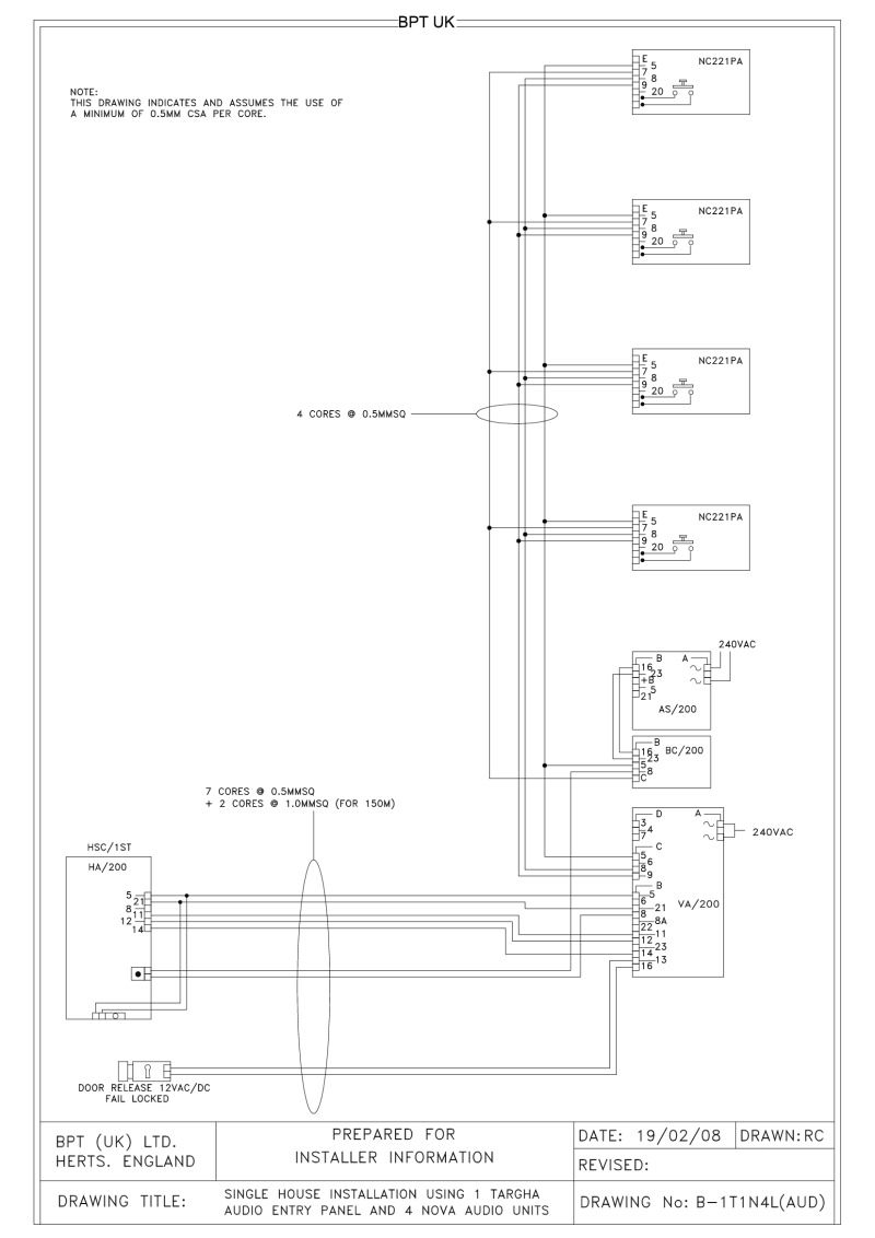Bpt Wiring Diagrams System 200 Panel Push On Ignition Switch Diagram 1 X Button Targha Audio Entry 4 Nova Units