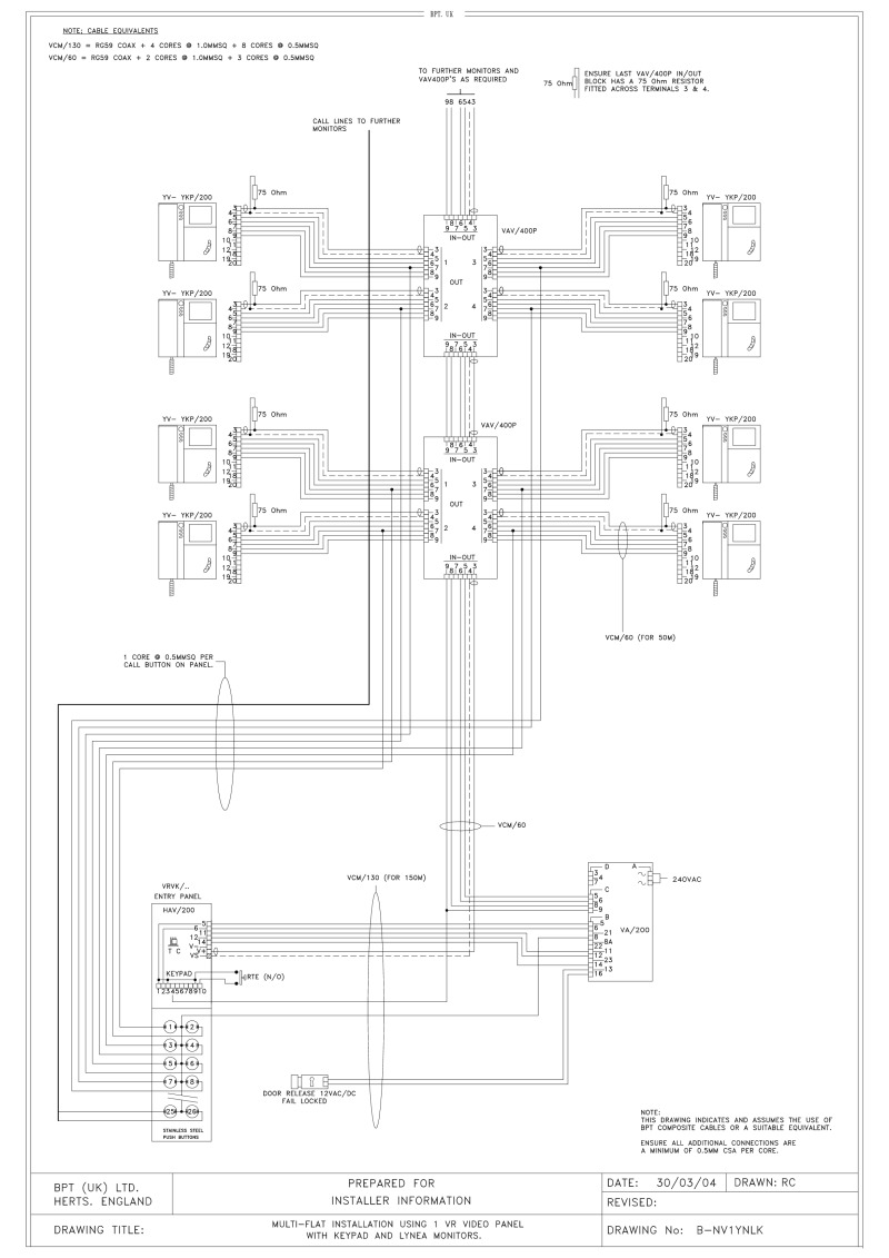 Bpt Wiring Diagrams System 200 Diagram For Keypad 1 X Multi Button Vr Video Entry Panel With Lynea Monitors