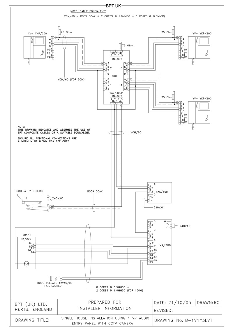 Bpt Wiring Diagrams System 200 Schematics Height Off Floor 1 X Button Vr Audio Entry Panel With Cctv Camera 3 Lynea Monitors
