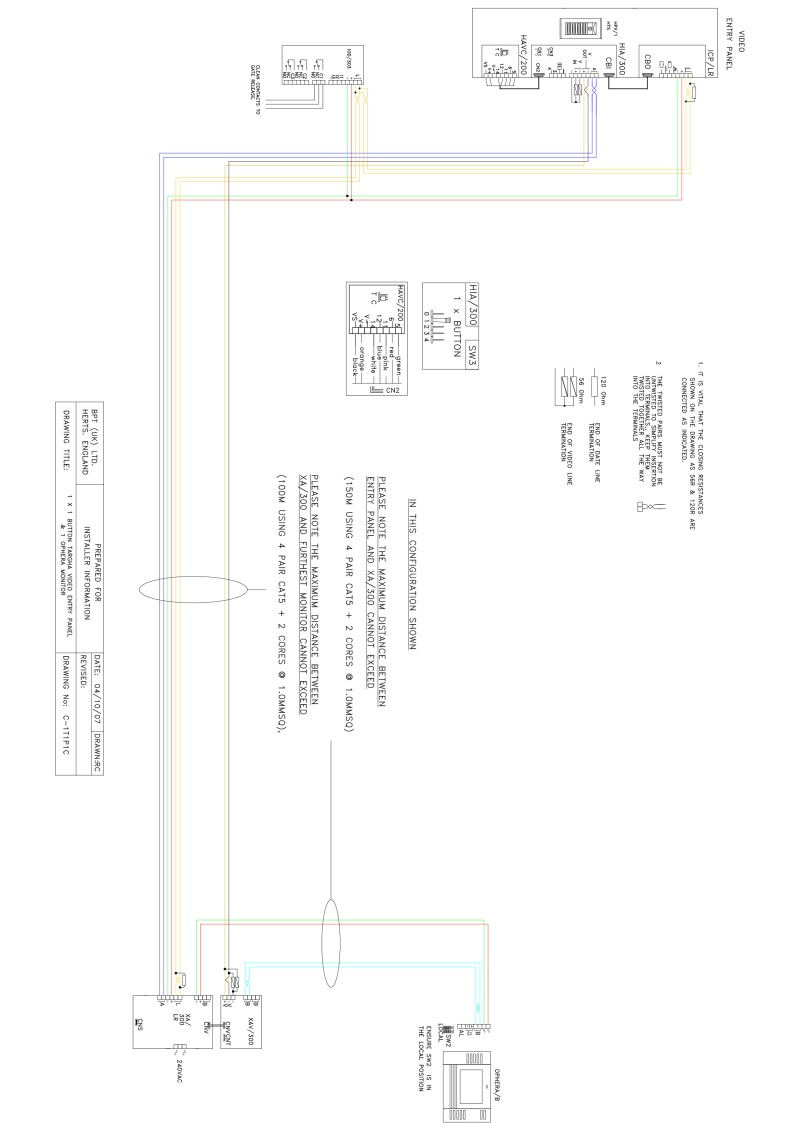 Bpt Wiring Diagrams System 300 Single Line Phone Diagram 1 X Button Targha Video Entry Panel Ophera Monitor