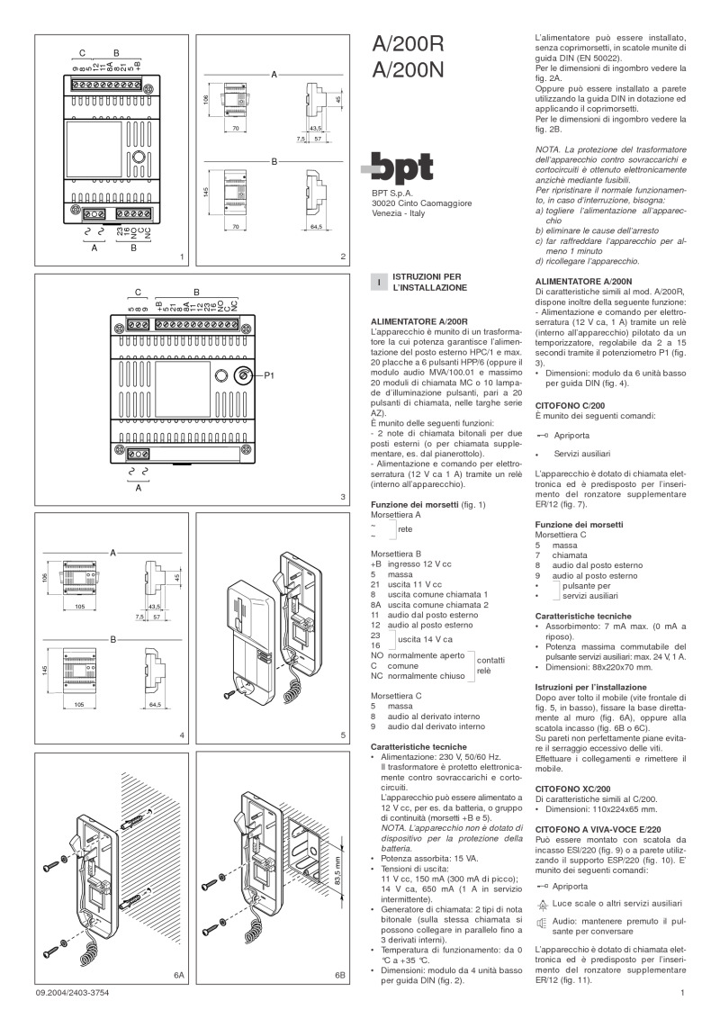 BPT A200N installation instructions