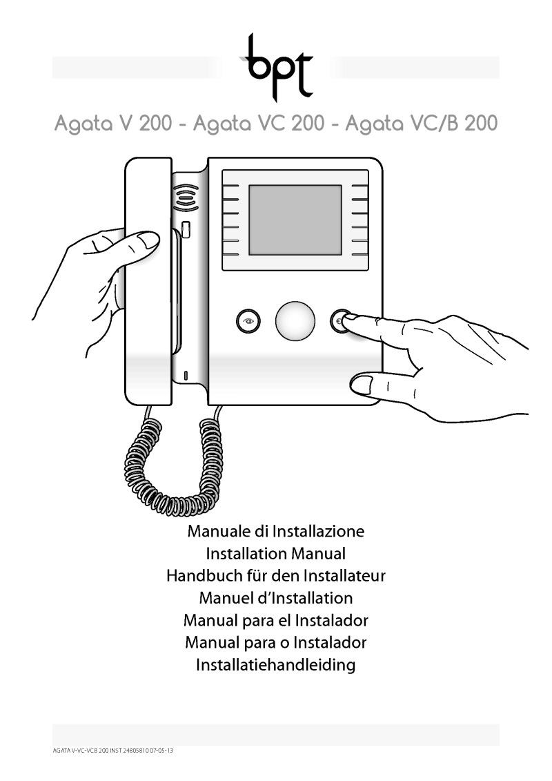 BPT Agata V 200 installation manual