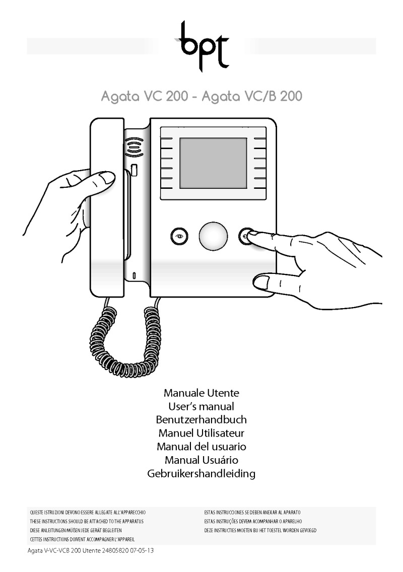 BPT Agata V 200 user manual