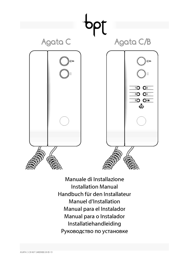 BPT Agata C X1 installation manual