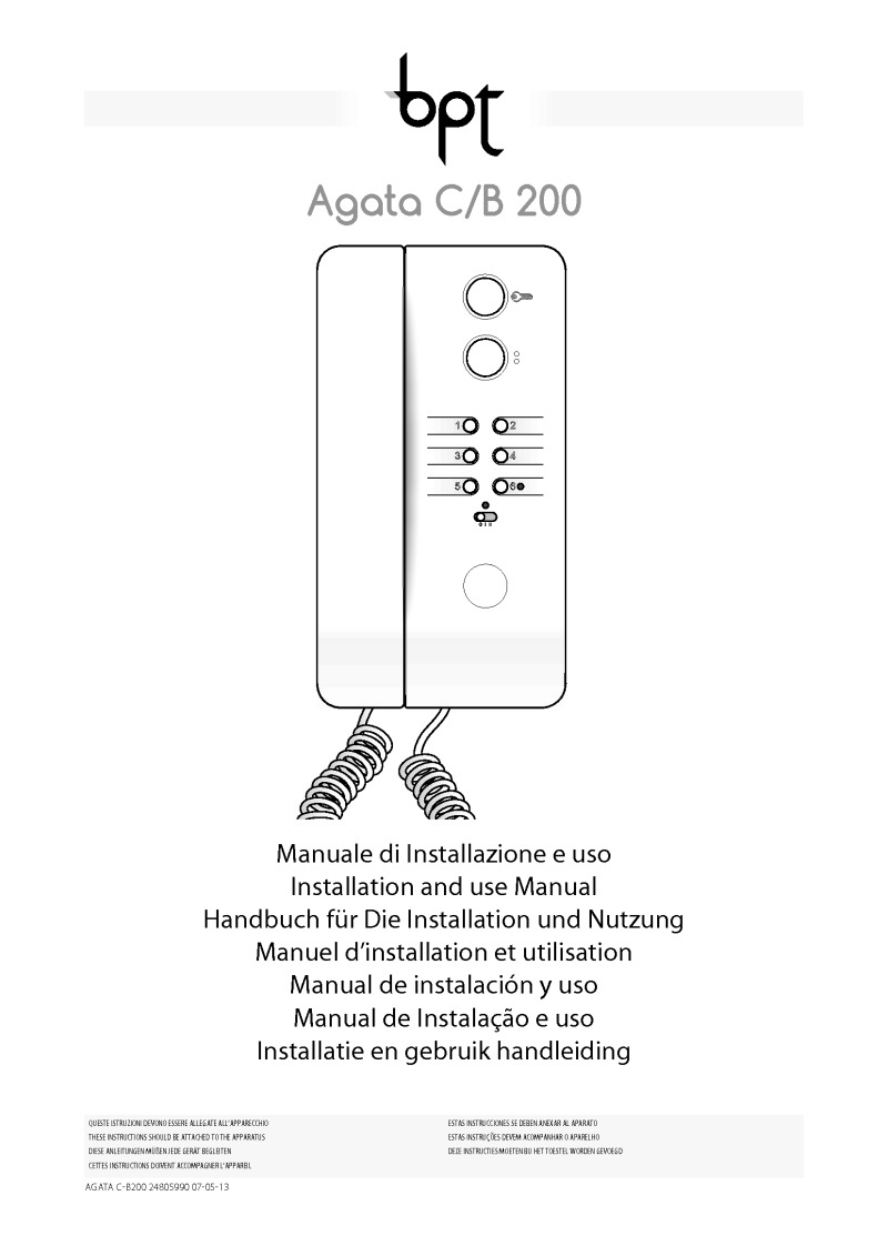 BPT Agata C/B 200 user manual