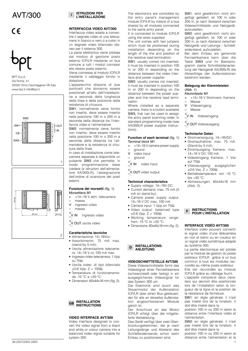 BPT AVT/300 installation instructions