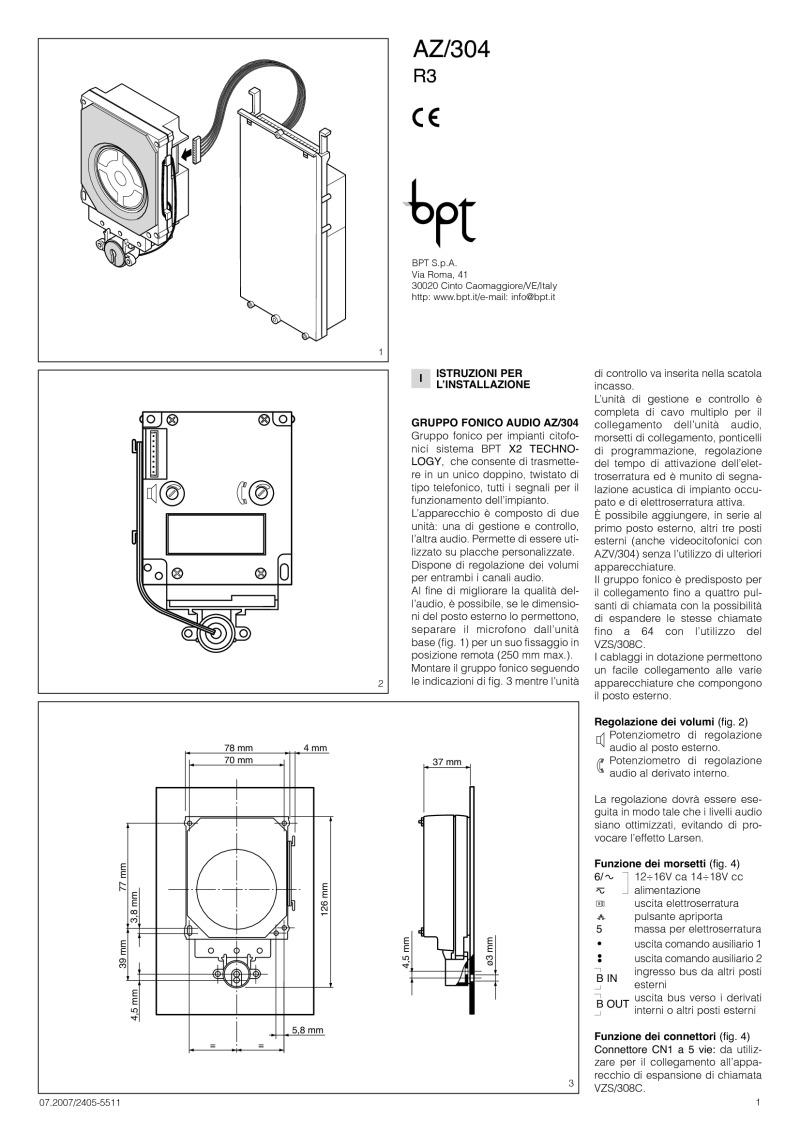 az 304 installation inst bpt installation instructions bpt a200n wiring diagram at bayanpartner.co