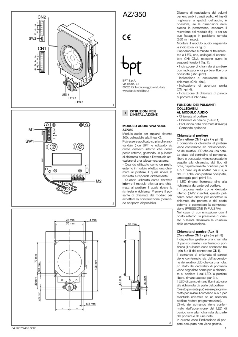 BPT AZ/350 installation instructions