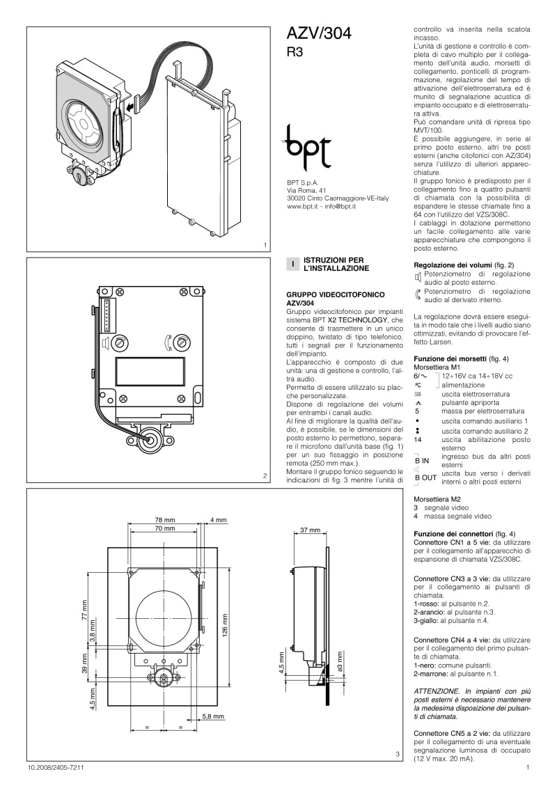 BPT AZV/304 installation instructions