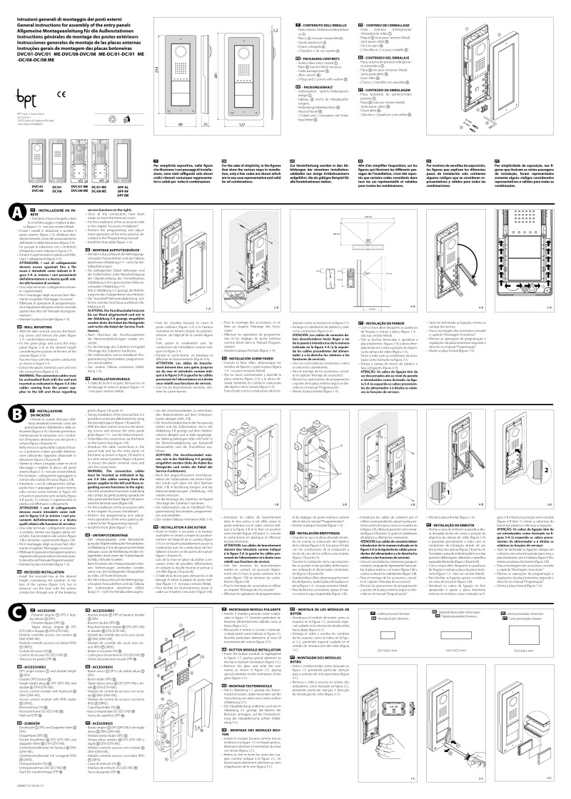 Bpt installation instructions for Bpt ta 350 istruzioni