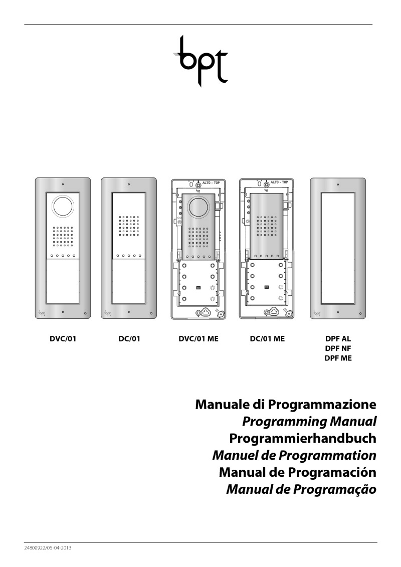 BPT DC/01 User manual