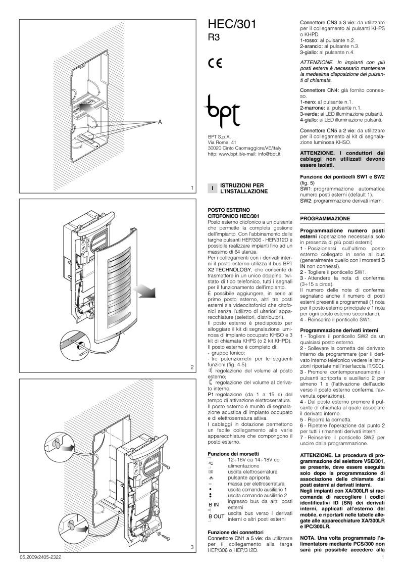 bpt_hec301 r3 24052322 05 09 bpt installation instructions bpt a200n wiring diagram at bayanpartner.co