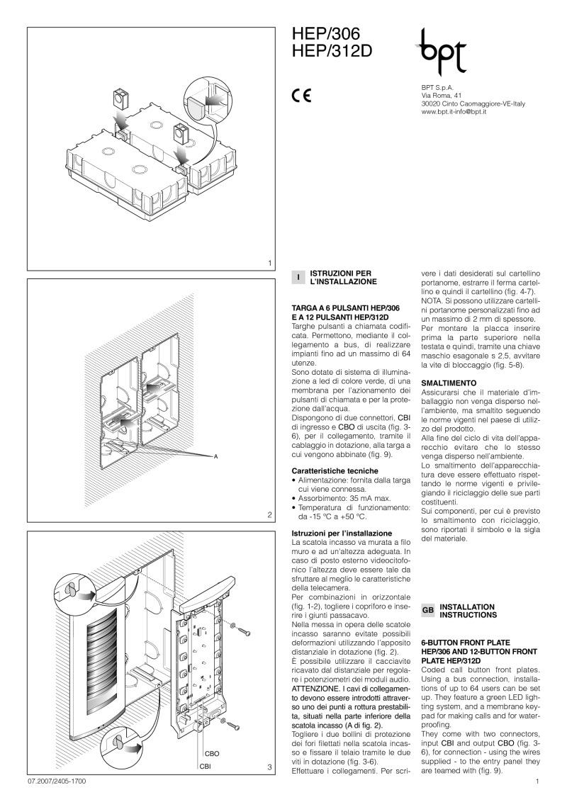 bpt_hep306 312d 24051700 07 07 bpt installation instructions bpt a200n wiring diagram at bayanpartner.co
