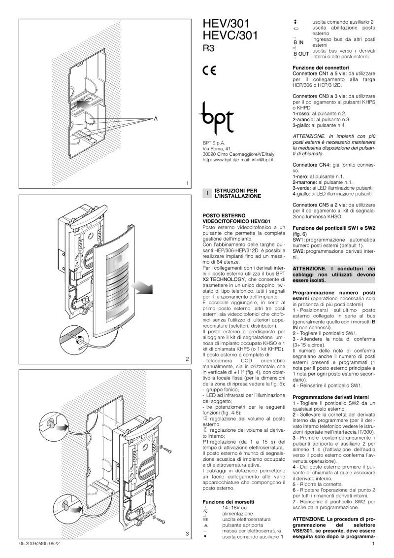 Bpt Installation Instructions Polo Intercom Wiring Diagram Hev 301 Hevc Manual