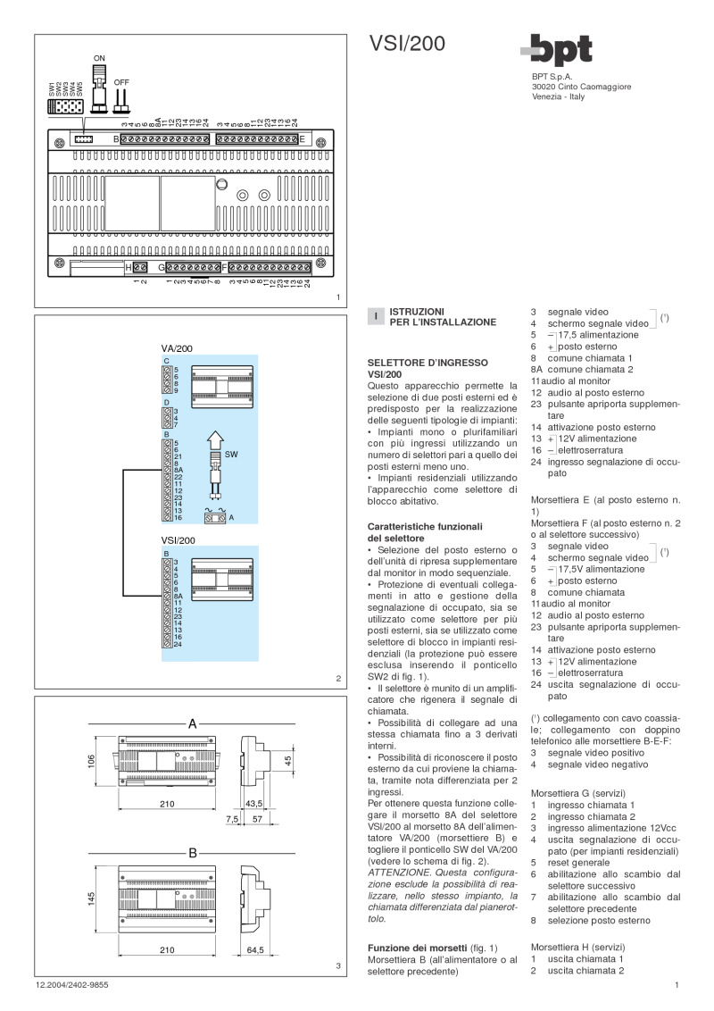 Bpt Installation Instructions Bea Maglock Wiring Diagram For Vsi 200