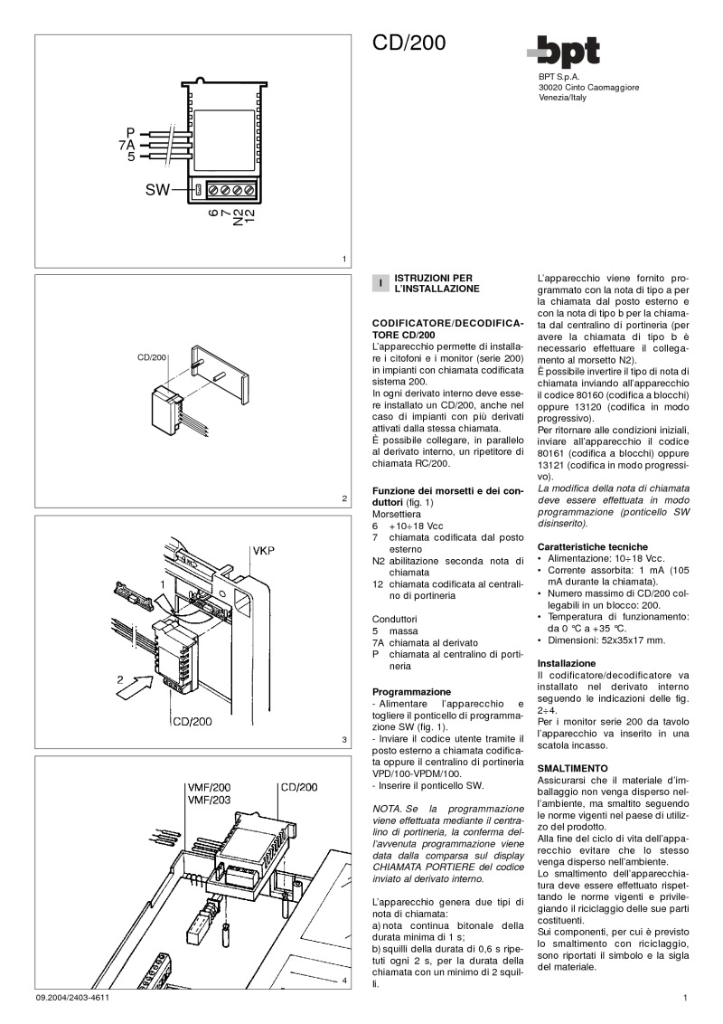 BPT CD/200 installation instructions