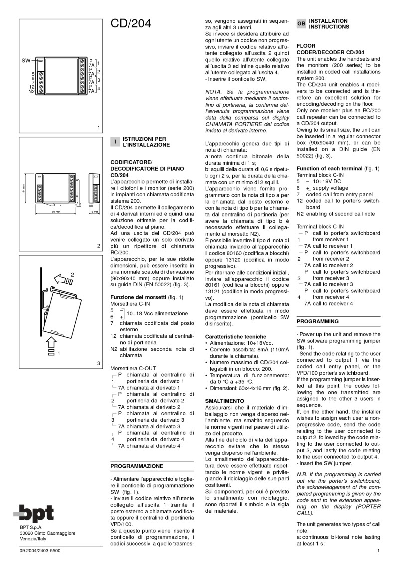 BPT CD/204 Installation manual