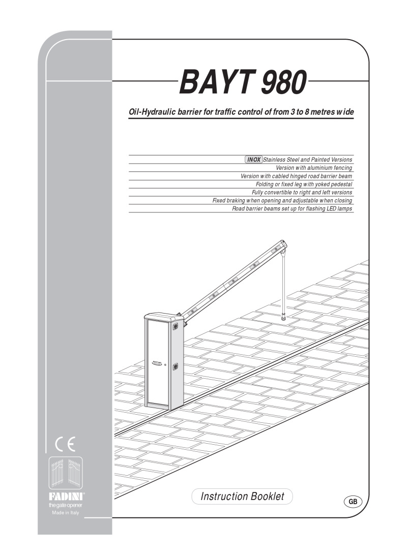 BPT Fadini BAYT 980 Installation instructions