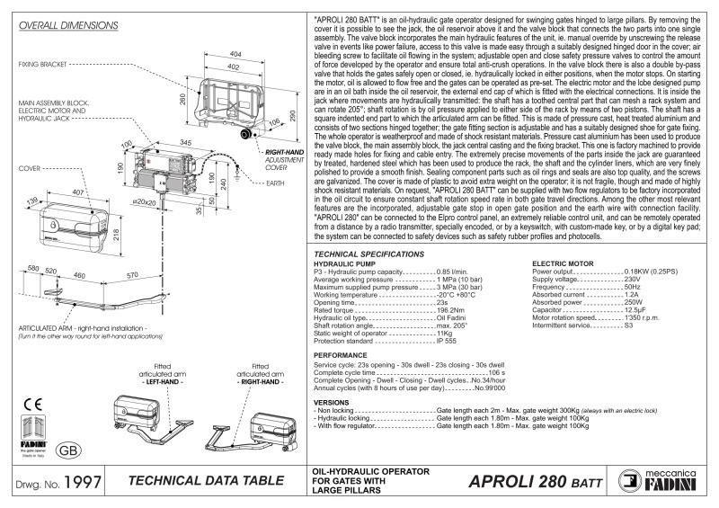BPT Fadini Aproli 280 Technical Data