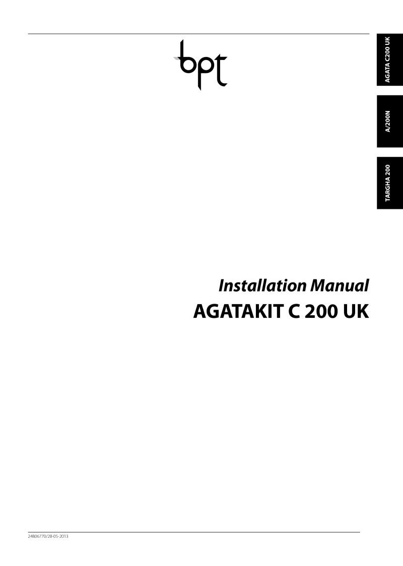 Bpt Taag1 Targha To Agata Kit Cctv Wiring Diagram Pdf Entry Panel Installation Manual
