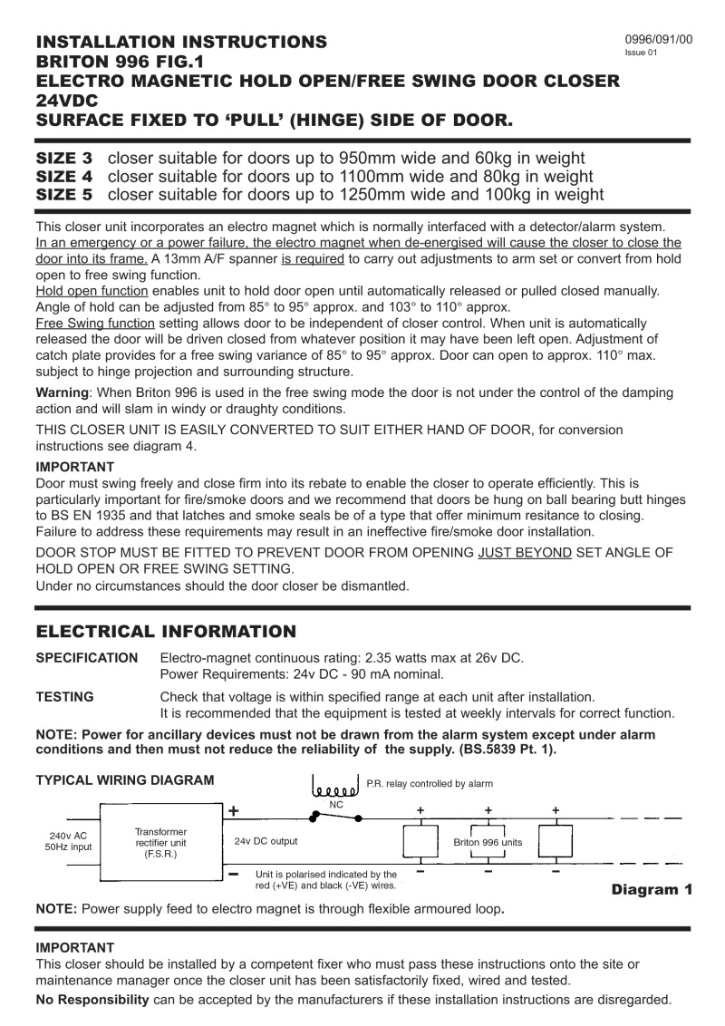 Briton-Hardaware 996 series installation manual