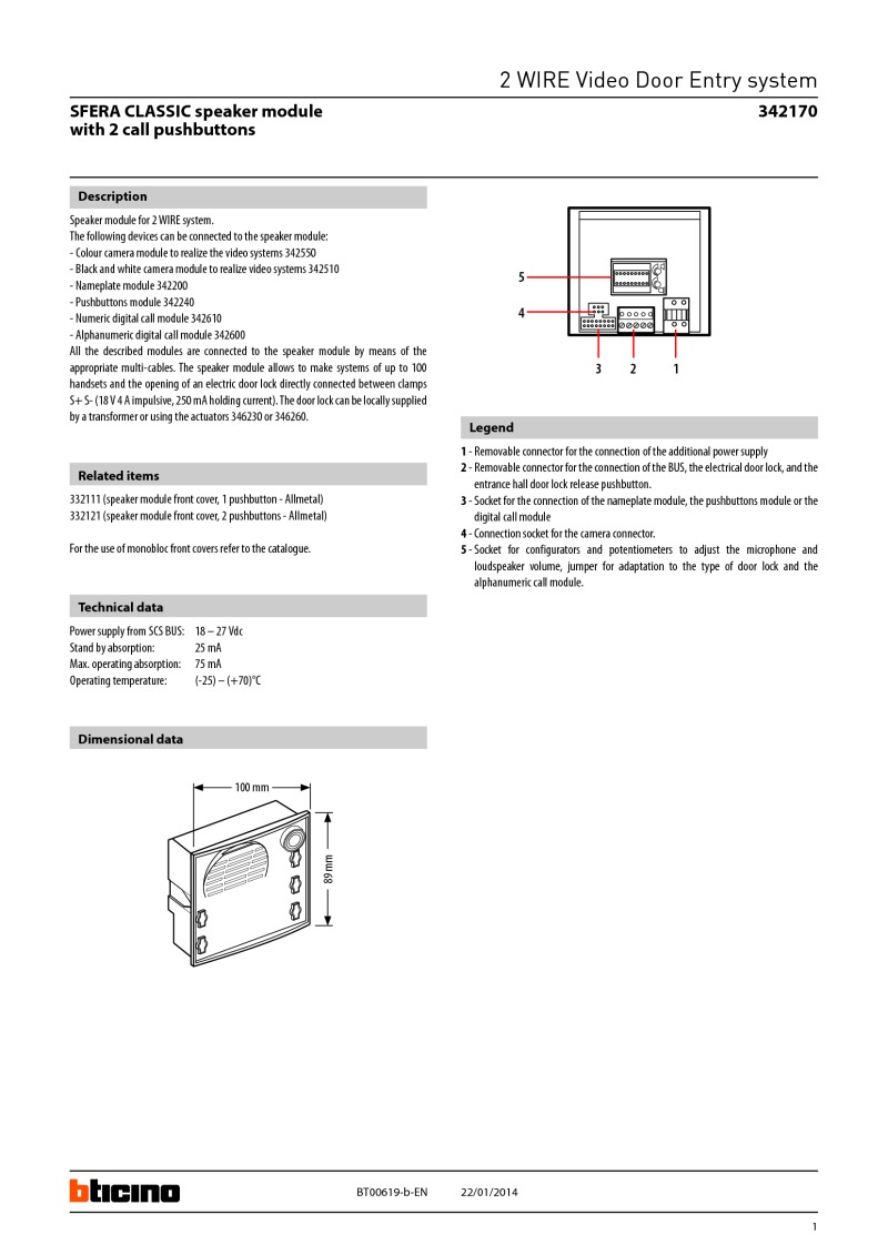 2 Way Speaker Wiring Diagram Bticino 342170 Module For Wire Systems Technical Brochure Sfera Classic