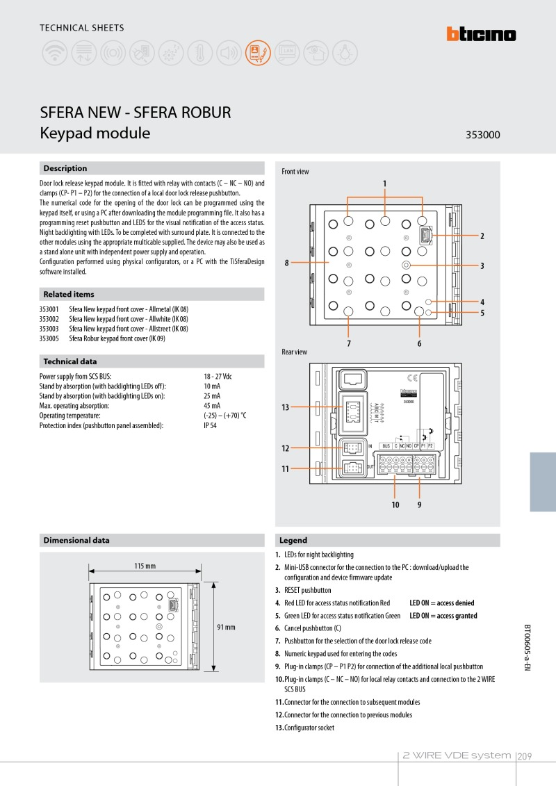 Bticino - Keypad Module for Sfera New Panels