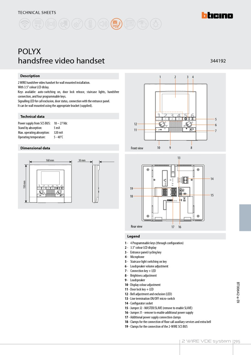 Bticino 344192 Polyx video monitor Brochure