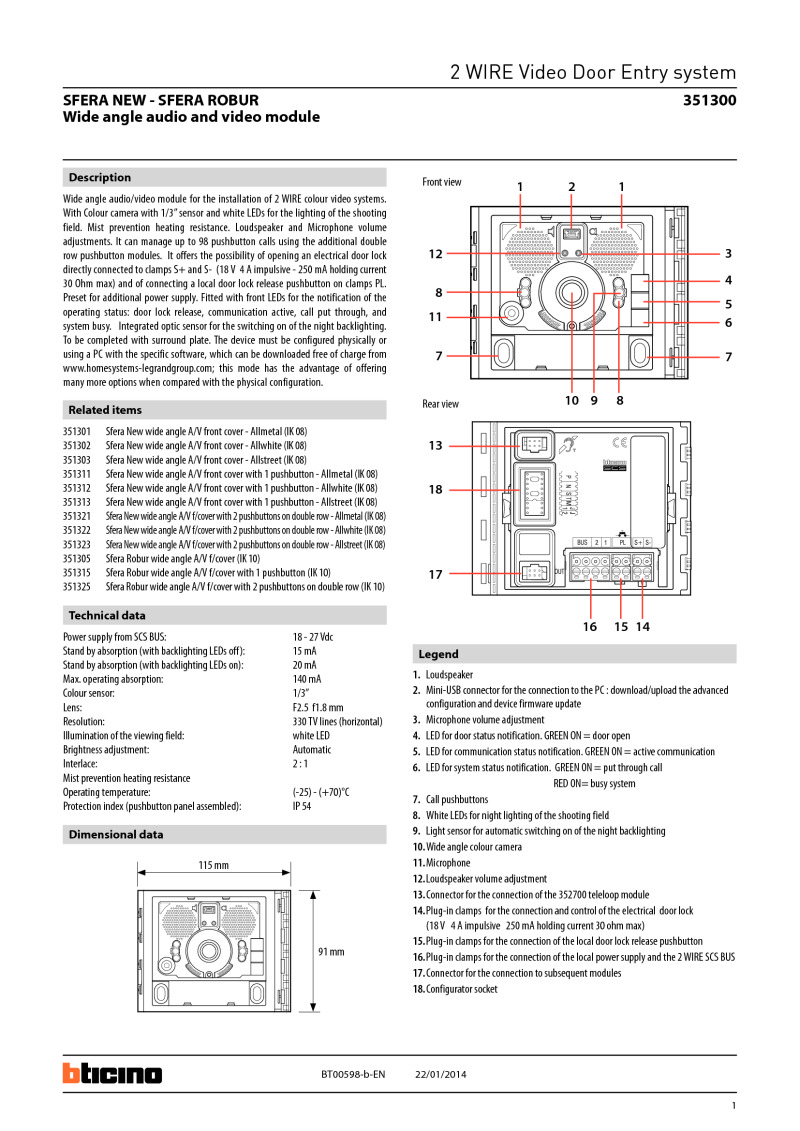 351300 bticino 351300 wide angle video module for the 2 wire sfera systems bticino door entry wiring diagram at soozxer.org