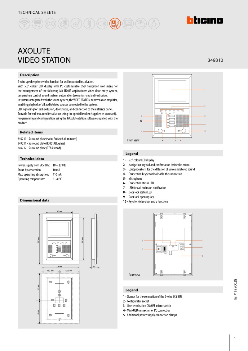 Bticino 349310 data sheet