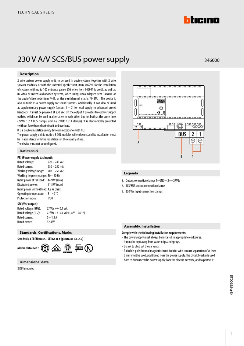 Bticino 346000 data sheet
