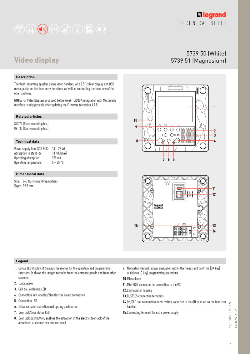 Btcino 573950 Axolute 25 Inch Video Monitor With Leds White Door Entry Phone Wiring Diagram Type