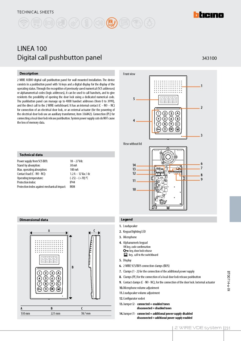 Bticino 343100 Linea Digital Panel Connecting Logisty Daitem Intercoms To Cb1 Control Dimensions