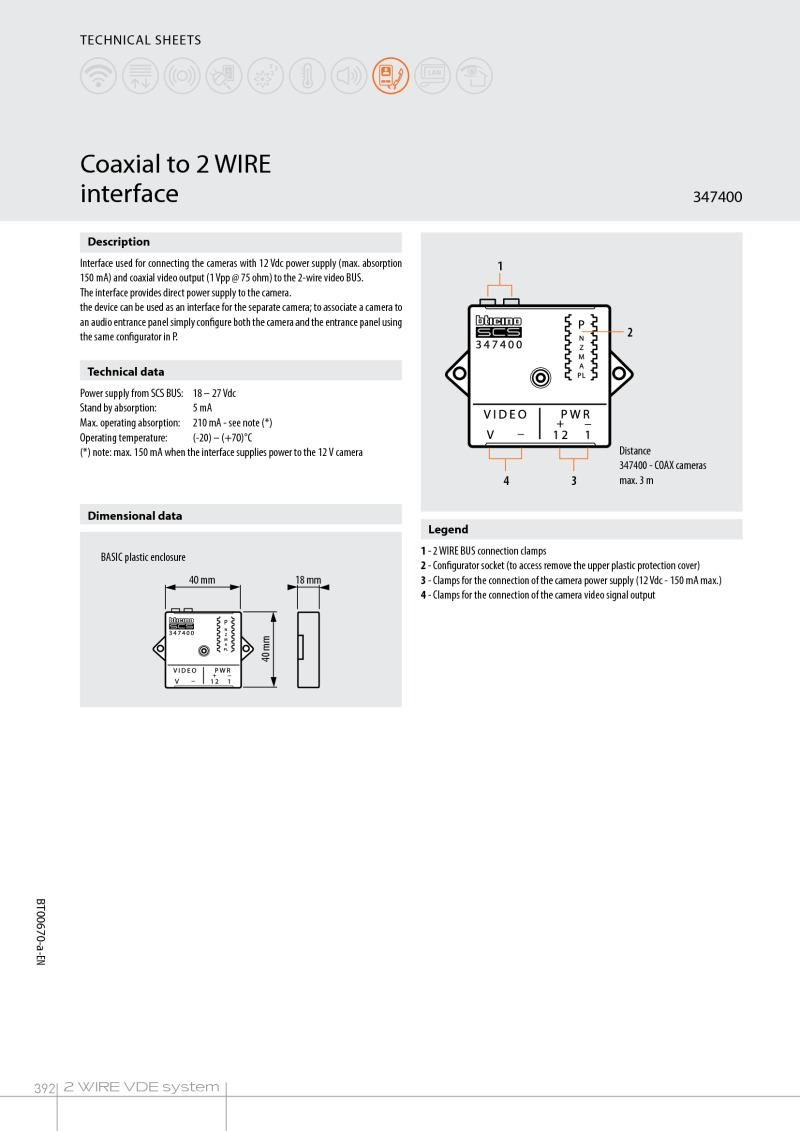 Bticino 347400 Coax To 2 Wire Converter Coaxial Socket Wiring Diagram Data Sheet