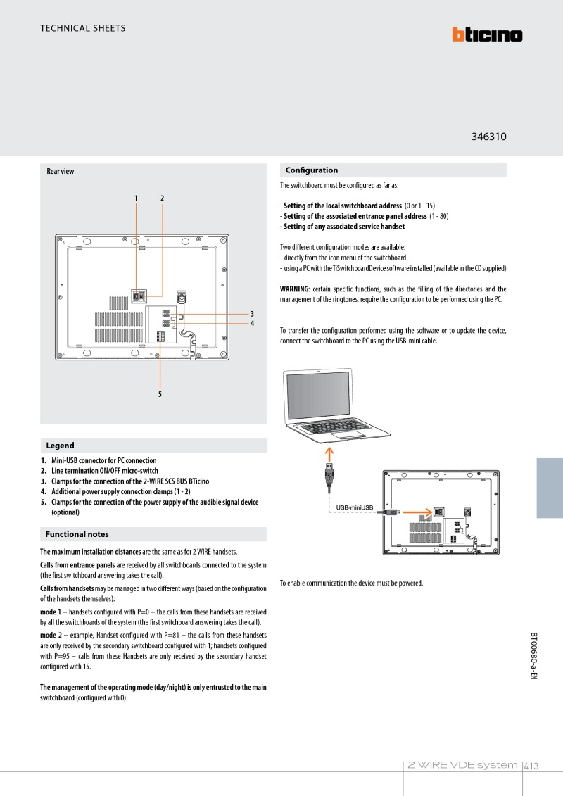 Bticino Installation Instructions Usb Power Adaptor Wiring Diagram 2 Manual For 346310