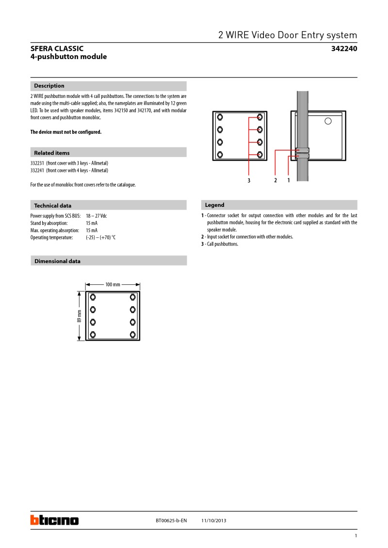 Bticino Wiring Diagrams 12 Vdc System Break Glass Installation Diagram 342240 Data Sheet