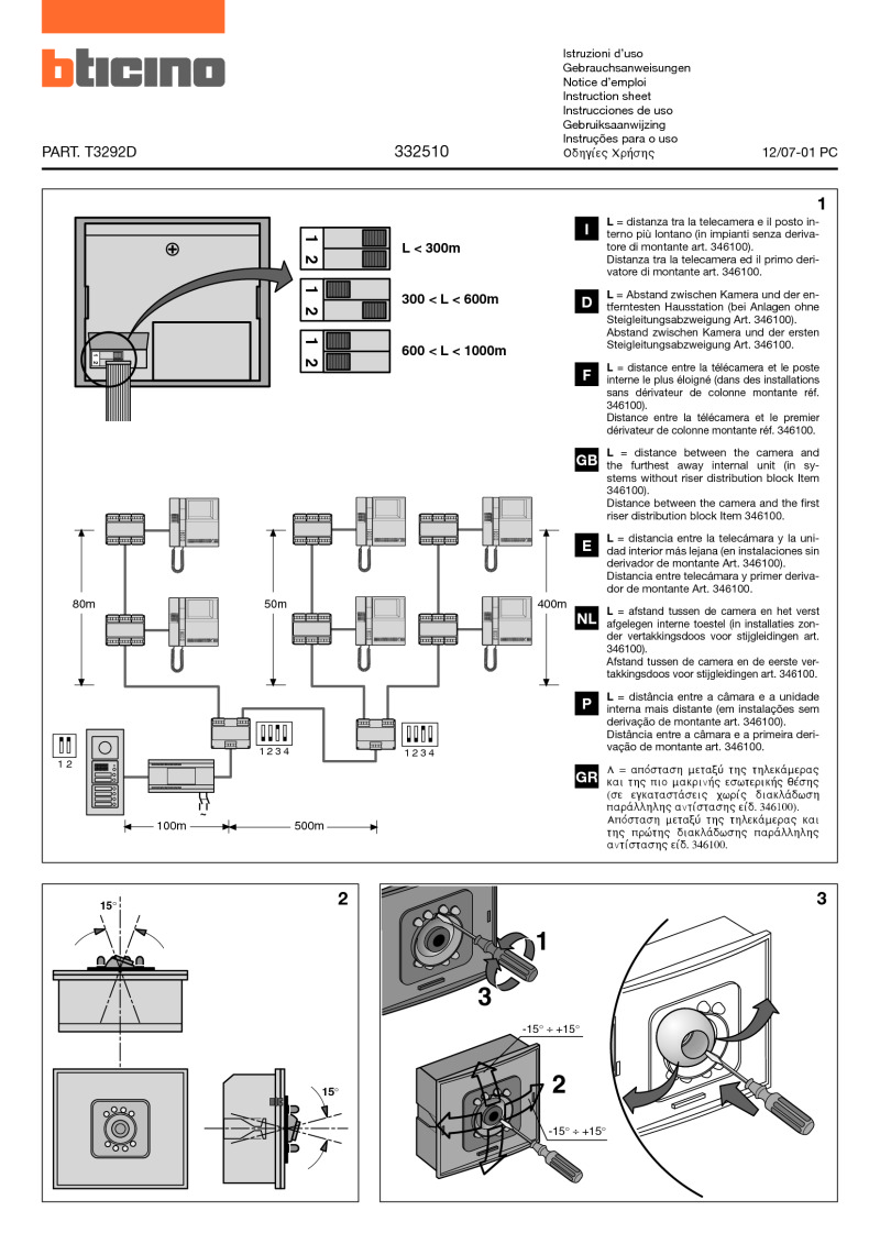 Bticino Wiring Diagrams Installing A Doorbell Schematic 332510 Installation Instructions