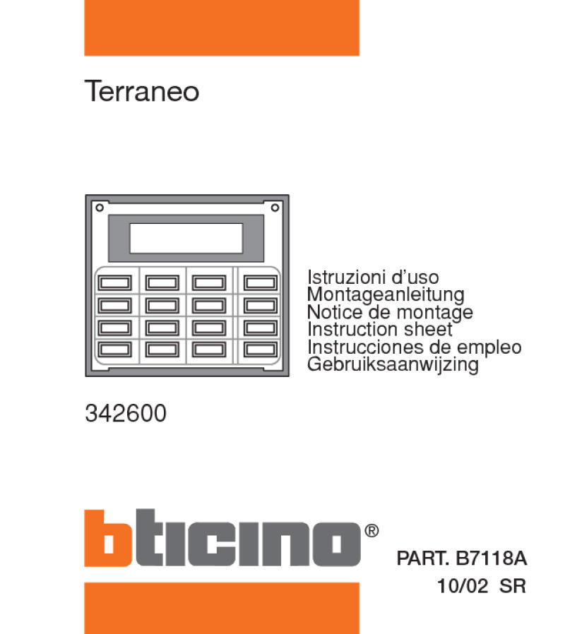 Bticino programming manual for 342600