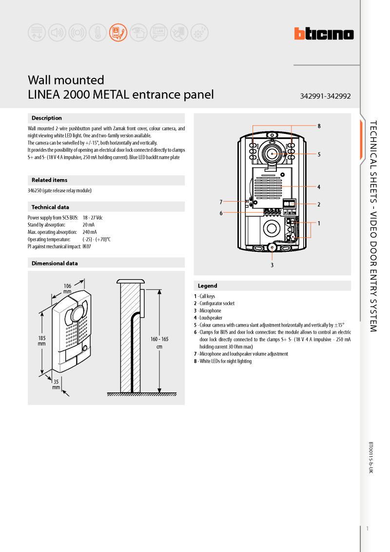 Bticino brochure for Linea 2000 colour video panel