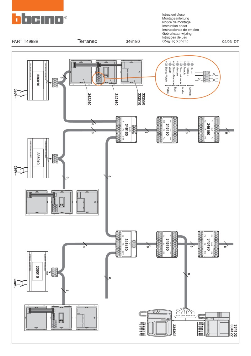 Bticino wiring diagram for 346180