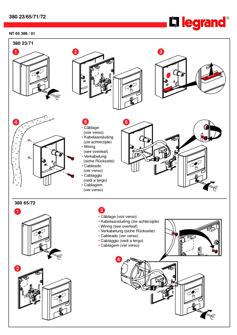 Bticino Break Glass installation diagram