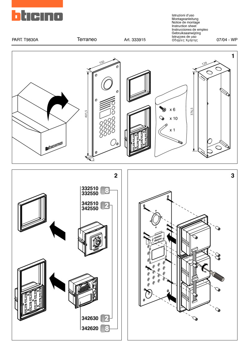 Bticino 333915 installation instructions