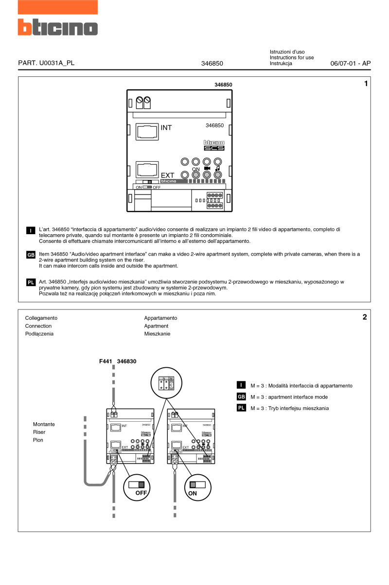 Bticino Wiring Diagrams Electrical Diagram Software Uk For 346850