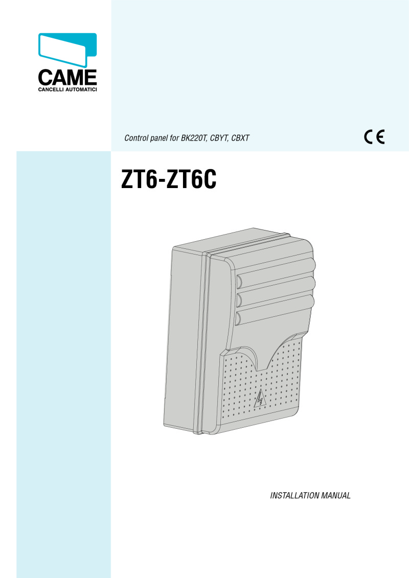 Came ZT6 - ZT6C control board installation manual