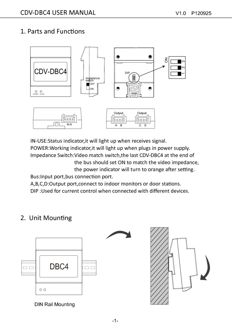 CDVI instruction manual for 2EASY 4 way splitter