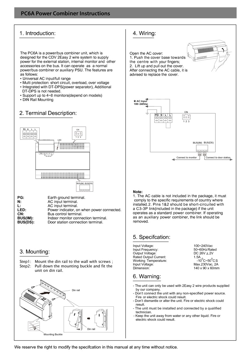 CDVI instruction manual for PC6